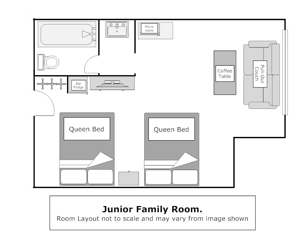 Floor Plan, Superior 2 Queen Room Pull-out