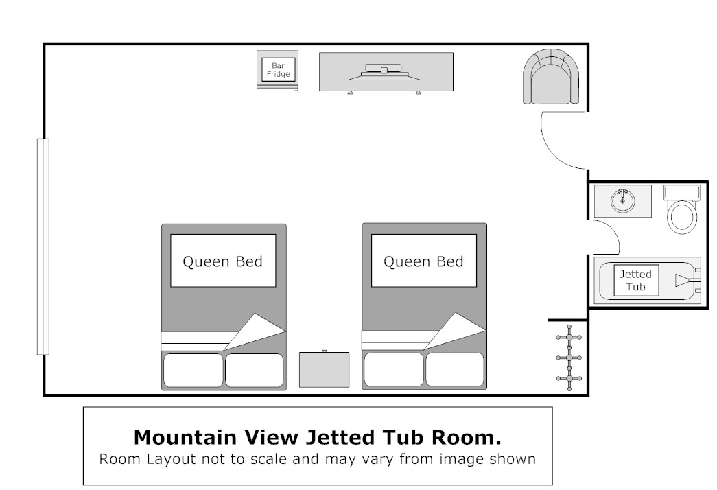 Floor Plan, Superior 2 Queen Balcony